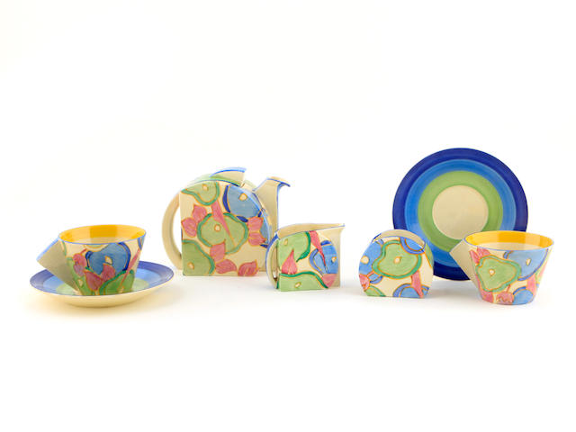 A Clarice Cliff Blue Chintz tea set