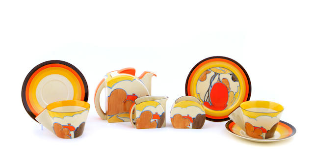 A Clarice Cliff Orange Autumn tea set