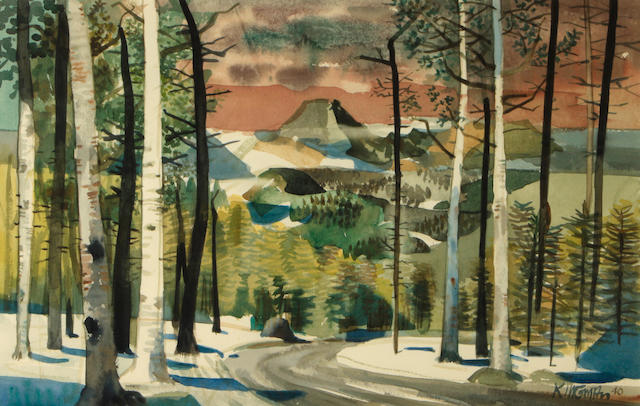 Dong Kingman (American, 1911-2000) A view along a mountain road, 1940 14 x 22in
