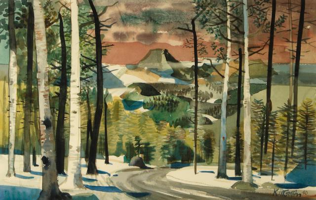 Dong Kingman (American, 1911-2000) A view along a mountain road, 1940 14 x 22in