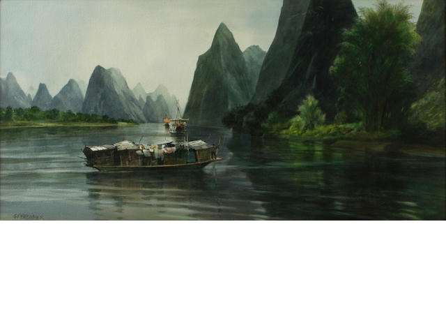 Gerald F. Brommer (American, born 1927) Quiet Waters, Li Kiang 20 x 40in