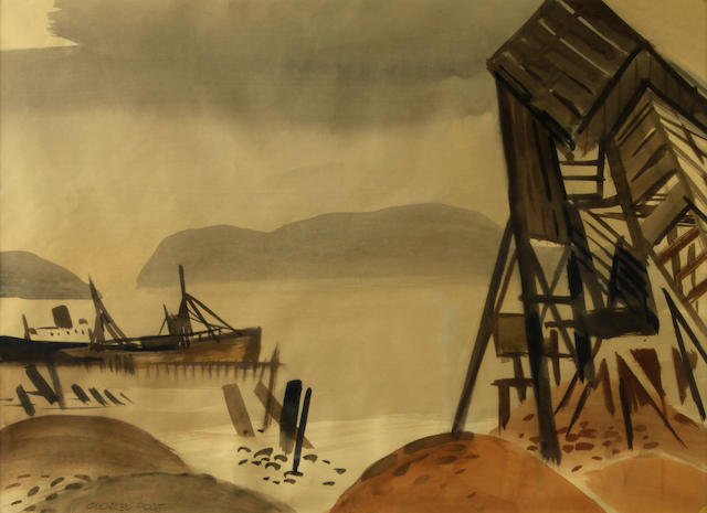 George Booth Post (American, 1906-1997) Last Cargo 18 x 24in