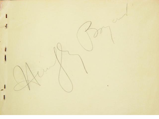 A Humphrey Bogart signed autograph book
