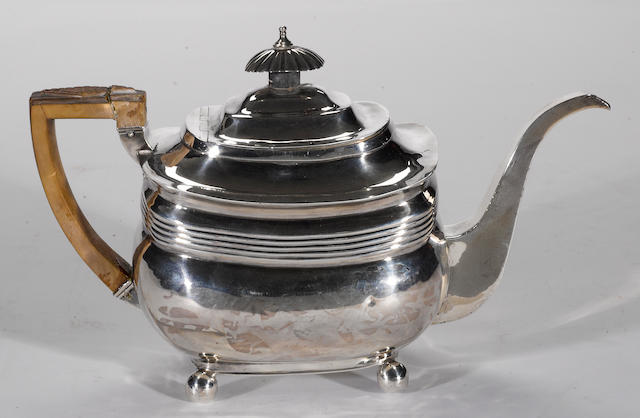 A George III silver teapot with wooden fittings John Wakefield, London, 1809