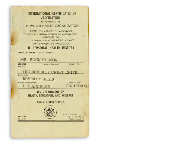 A Rock Hudson vaccination card