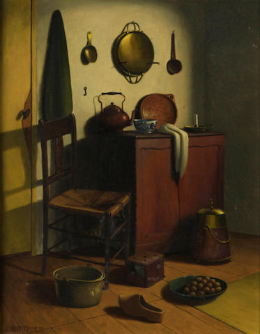 Adriaan Timmers (Dutch, 1886-1952) A kitchen interior 17 3/4 x 14in