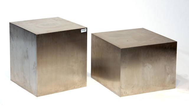 Two contemporary polished metal cubic side tables