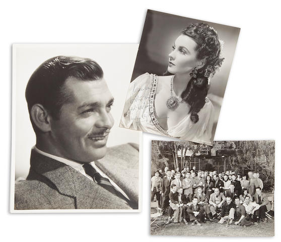 A Clark Gable signed photograph and a Vivien Leigh signed photograph
