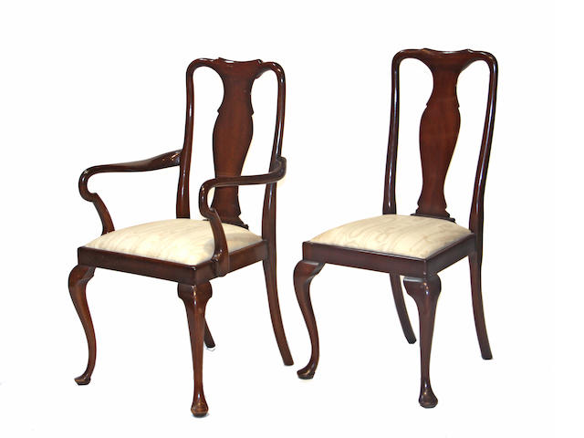 A set of twelve Queen Anne style mahogany dining chairs  20th century