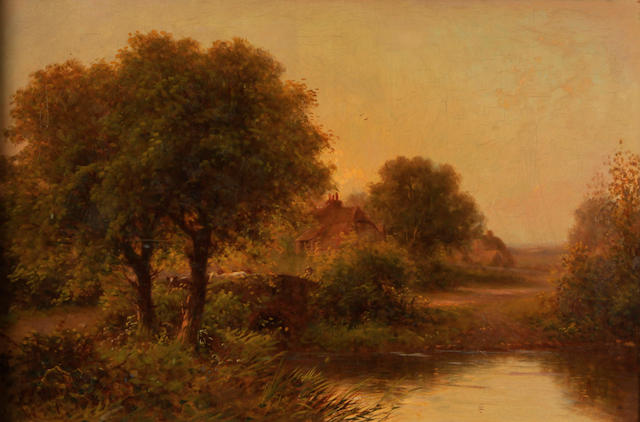 R. Parsons A wooded river landscape with a cottage on the banks 16 x 24in