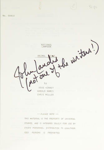 A John Landis signed copy of Animal House