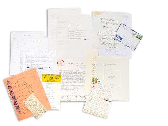 MODERN POETRY. Collection of typescripts, correspondence, manuscript and printed material by and related to several 20th Century American poets, including Marrianne Moore, Carl Rakosi, Denise Levertov, Kenneth Rexroth, Harold Brodkey, Louis Simpson, Karl Shapiro, Ogden Nash, Witter Bynner, Charles Henri Ford, Kenneth Patchen, Janet Lewis, John Taggart, Wayne Holder, Ross Lavroff, and Richard Armour.