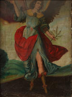 Spanish Colonial School An Archangel; together with a painting of a similar subject (a pair) each 25 1/2 x 19 3/4in