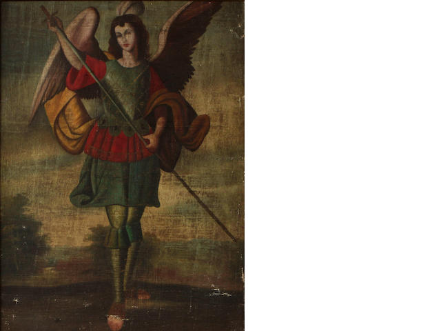 Continental School An Archangel; together with a painting of a similar subject (a pair) each 25 1/2 x 19 3/4in