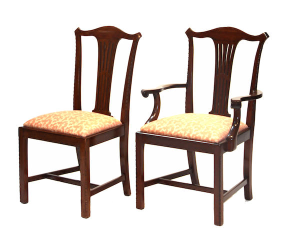 A set of twelve George III mahogany chairs 20th century