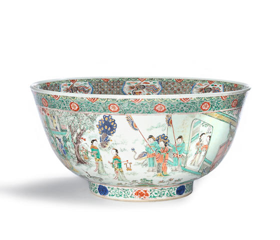 A massive famille enameled porcelain figural bowl Kangxi period diameter 15 ½in; height 7 ½in (wear, rim restored)