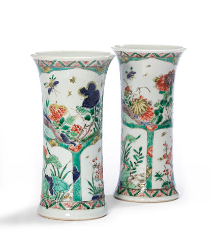 A pair of famille verte porcelain beaker vases with floral decoration Kangxi period height 7 ¼in (rims restored)