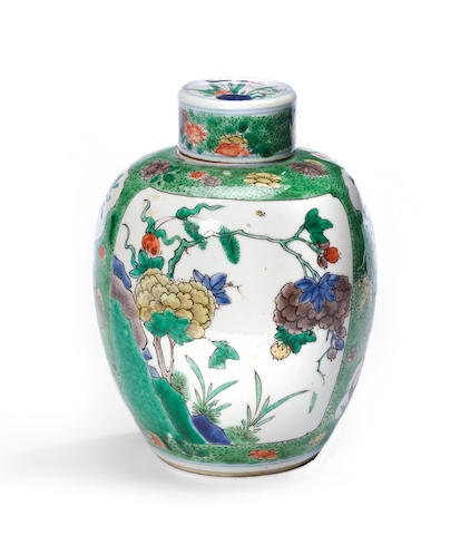 A small famille verte enameled porcelain jar and cover Kangxi period