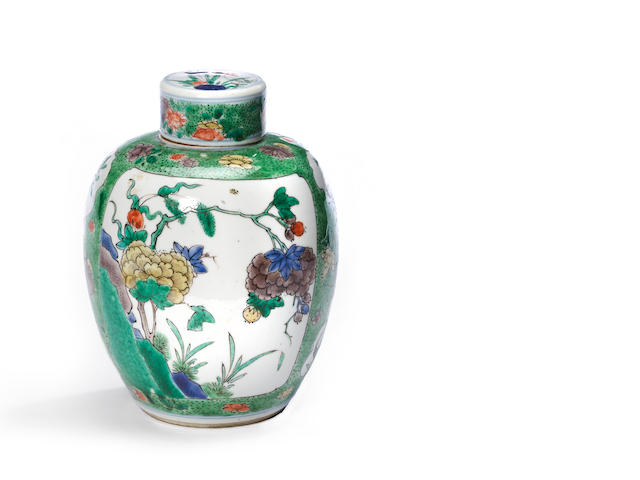 A small famille verte enameled porcelain globular jar and cover Kangxi period height 6 ½in