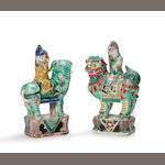 Two export porcelain figures of central Asian  barbarians on animal mounts with famille verte  decoration Kangxi period height 6 ½in