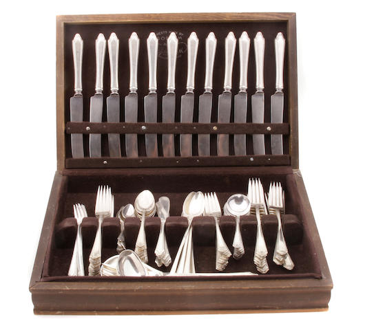 An American  sterling silver  flatware service for twelve Towle Silversmiths, Newburyport, MA,  second quarter 20th century