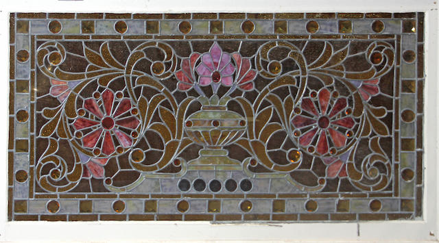 A leaded glass rectangular window  late 19th/early 20th century