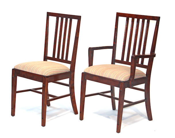 A set of six George III style stained birch dining chairs 20th century