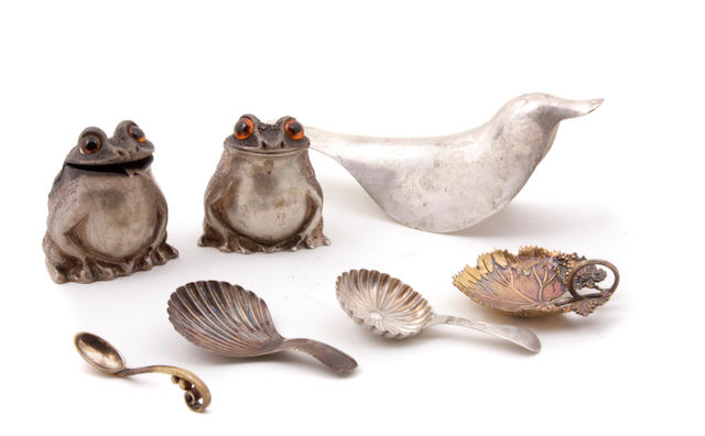 An International group of silver  table accessories 18th - 20th century