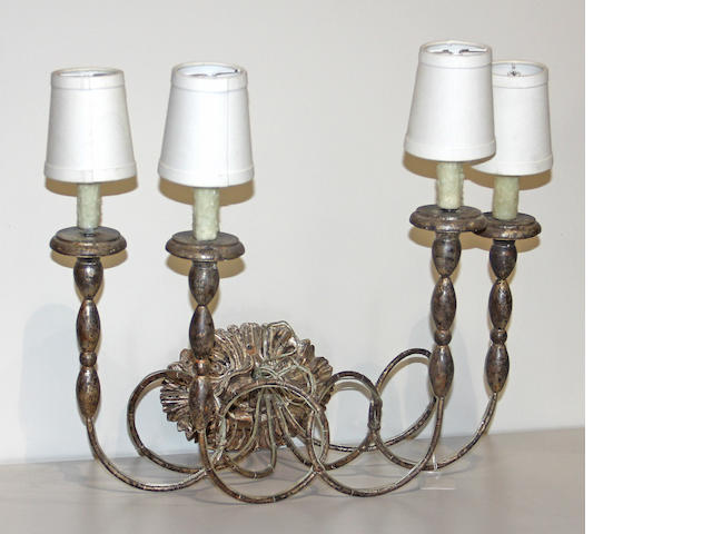 A [Italian Neoclassical] silver giltwood four light sconce