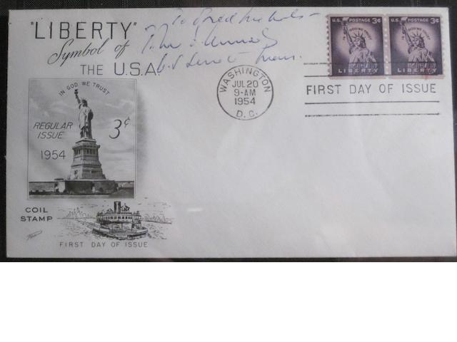 "KENNEDY, JOHN FITZGERALD. 1917-1963. First Day Postal Cover Signed (""John F. Kennedy""),"