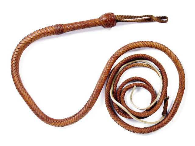 An Indiana Jones trademark bullwhip from Raiders of the Lost Ark