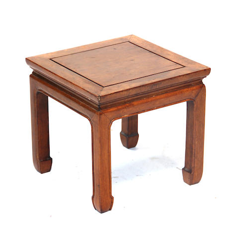 A Chinese huali and mixed wood fangdeng (square stool) Republic period