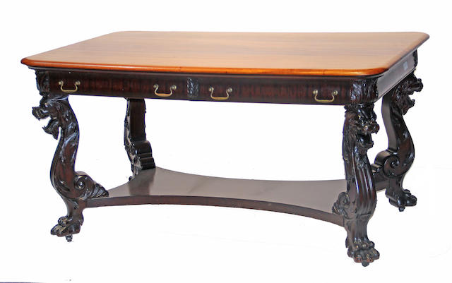 An American Renaissance Revival mahogany writing table  circa 1875