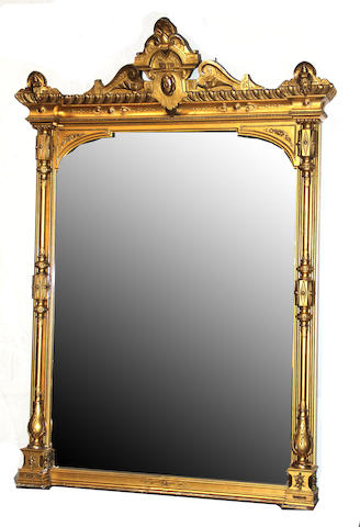 A large Napoleon III giltwood and composition overmantel mirror third quarter 19th century