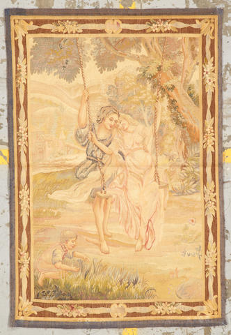 An Aubusson tapestry France size approximately 3ft. 1in. x 4ft. 6in.
