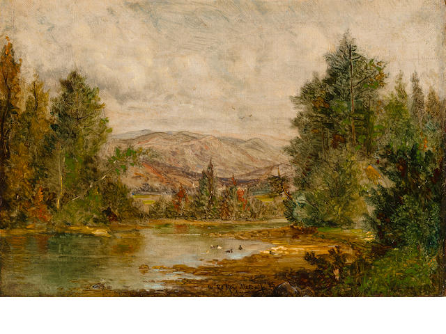 Attributed to Willard Leroy Metcalf (American 1858-1925), Landscape, 1875, o/c, framed 12 x 16 3/8in