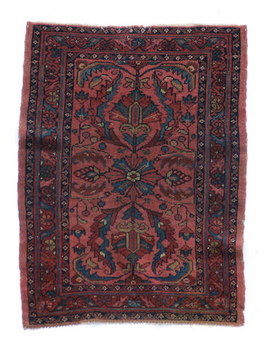 A Turkoman rug size approximately 1ft. 11in. x  2ft. 5in.