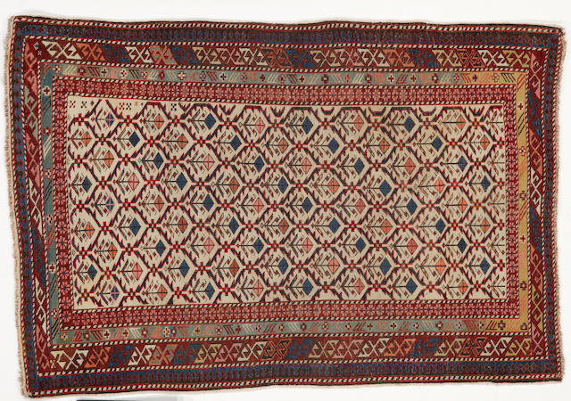 Shirvan rug  late 19th century size approximately 3ft. 3in. x 4ft. 10in.
