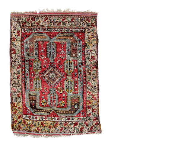 A Turkish silk rug size approximately 4ft. 3in. x 5ft.