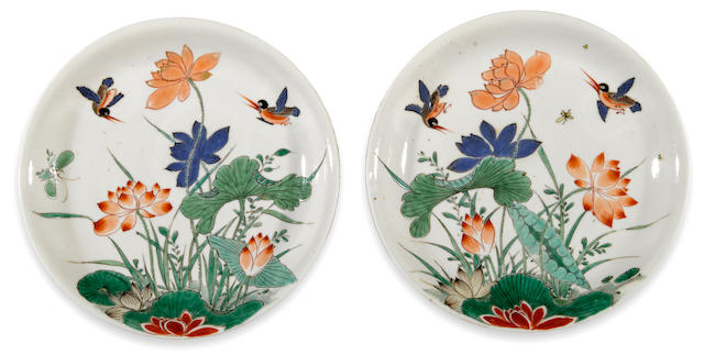 Two finely painted famille verte enameled porcelain bird and lotus dishes Kangxi period