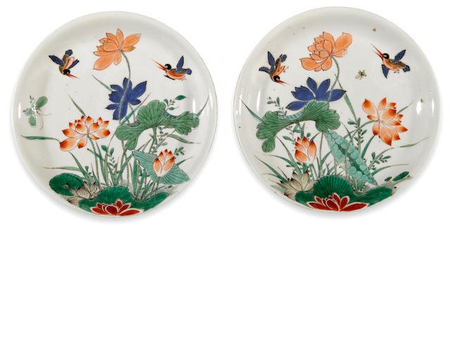 A pair of finely painted lotus dishes in famille verte enamels  Kangxi period diameter 8 ¼in