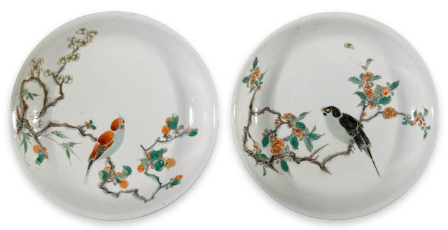 Two famille verte enameled porcelain deep dishes with flower and bird decoration Kangxi period