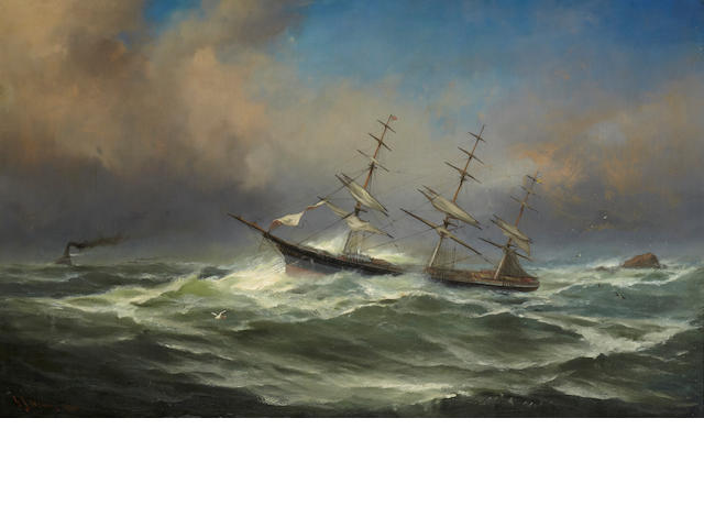 Gideon Jacques Denny Three masted clipper in rough seas with tug in the distance signed and dated 'G. J. Denny 1880' (lower left) oil on canvas (original) 30 x 50in