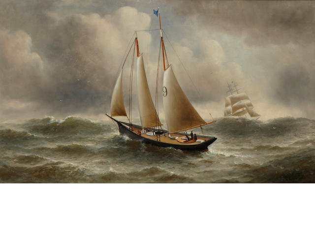 William Alexander Coulter Pilot Boat #9 signed 'W. A. Coulter SF' (lower right) oil on canvas (original) 26 x 44in