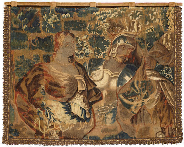 Flemish baroque mythological tapestry fragment<BR />late 17th century