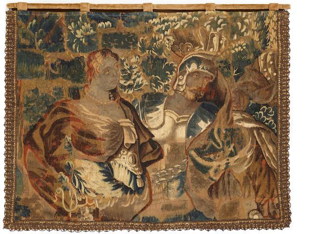 Flemish baroque mythological tapestry fragment<BR />late 17th century