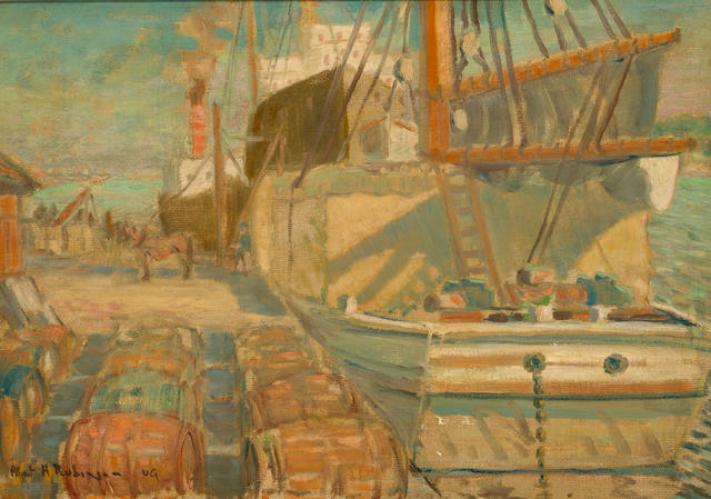 Albert Henry Robinson (Canadian, 1881-1956) Montreal Harbor 12 1/4 x 17 1/8in