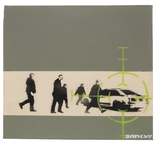 Precision Bombing 2000  acrylic and stencil spray paint on canvas