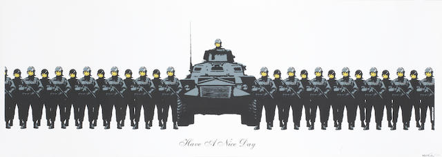 Banksy (b. 1975) Have a Nice Day 2004  screenprint on paper  signed Banksy and numbered 7/500 (lower right) titled (lower centre)  33 by 99 cm. 13 by 19 39 in.