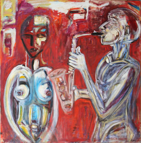 L.M.G. Saxophone player and muse 68 x 68in